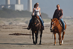 1 of 2 Two female equestrians enjoy a slow ride on their beautiful horses on Morro Strand State Beach, 06 April 2009