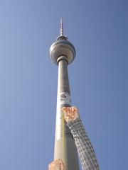 yellowman's impression of the Fernsehturm (msflic) Tags: berlin april 2009 yellowman deutschetelekom invitedby