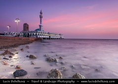 Saudi Arabia - Jeddah - Jiddah - Jidda - Jedda - Pink Sunset at Floating Mosque on shores of Red Sea ( Lucie Debelkova / www.luciedebelkova.com) Tags: saudiarabia jeddah middleeast mosque pink sunset water waterscape seascape stones redsea sea travel view sunrise scenic panorama paisaje paisagem paesaggio magiclight light landschaft landscape exploration arabia atmosphere breathtaking dawn incredible fantastic licht lumire mood scenery wonderful vista trip stunning nature gcc couleurs dusk dramaticlight color couleur colours colour colors colores beaut beautiful awesome beautifulscenery masjid islam muslim prayer architecture saudska arabie wwwluciedebelkovacom luciedebelkova