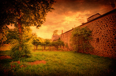 The Hidden Orchard (Philipp Klinger Photography) Tags: flowers light sunset shadow sky house tree texture window nature wall clouds barn germany landscape deutschland europa europe hessen orchard hidden philipp hesse badnauheim klinger superaplus aplusphoto platinumheartaward dcdead wisselsheim
