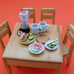 Something for breakfast... (Shay Aaron) Tags: food scale coffee breakfast dinner lunch avocado miniature cookie dish toaster fake mini vegetable sandwich fimo clay tiny meal bagel faux 12th 112 pretzel platter dollhouse petit realistic polymer shayaaron