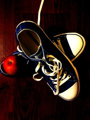 Exercise (bpcolumbus) Tags: blue red apple shoes exercise chucks laces