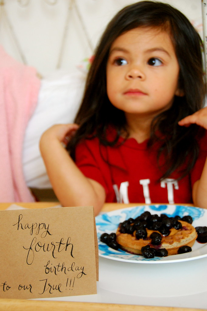 her fourth birthday breakfast in bed
