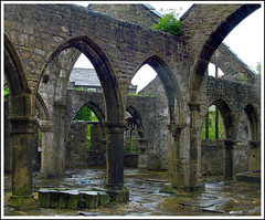 Wet Day in the ruins of Heptonstall Church (Audrey A Jackson) Tags: england church wet ruins village yorkshire arches pillars tp gravestones sonycybershot heptonstall anticando ringexcellence