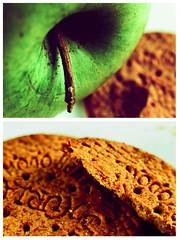 (syringes) Tags: macro apple breakfast cookie manzana esmorzar desayuno crossed yummie poma analogic galleta cruzado creuat galeta