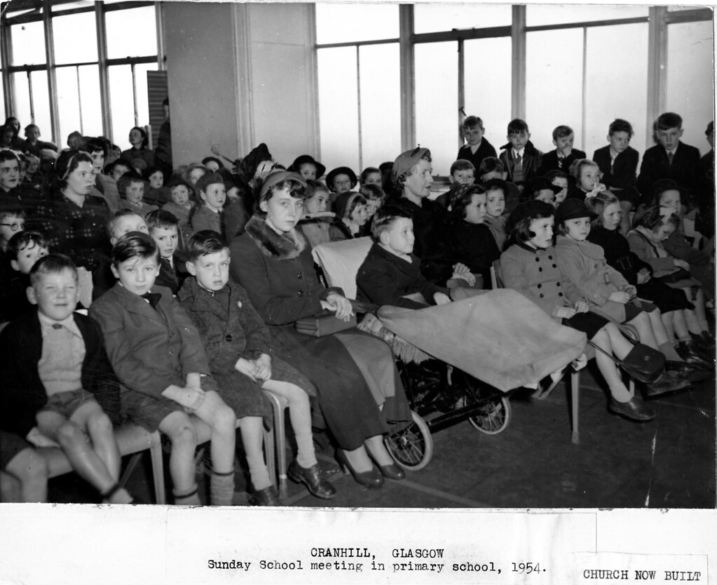 Sunday school meeting in primary school 1954 with info