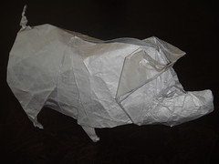 Pig (Design by Quentin Trollip) (Origamiancy) Tags: origami tissuefoil quentintrollip origamipig