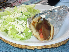 Greek Salad with a Gyro at Devine Foods