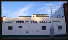 Brown's Bun Bakery (Color Version)--Detroit MI (pinehurst19475) Tags: lighting city urban building sign architecture michigan detroit business browns bakery artdeco deco mexicantown southwestdetroit puredetroit vernoravenue enameledmetal brownsbunbakery