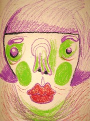 woman (Lido Pimienta) Tags: color faces expression closeups oilpastels happysadness