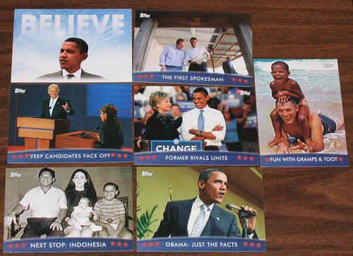 Front of 7 Topps Barack Obama cards