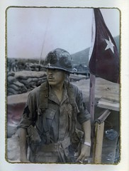 '68, An Khe, Vietnam, just back from recon (spysgrandson) Tags: soldier vet flag vietnam bunker 1960s 1968 gi lz recon iniform ankhe