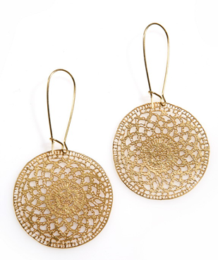 woven gold medallion earrings