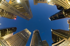 Singapore CBD -  Raffles Place (Anthony White (in Singapore)) Tags: longexposure night nikon singapore asia dusk fisheye cbd bluehour touristattraction rafflesplace d300 republicplaza uobtower hitachitower superaplus aplusphoto anthonywhite chevrontower oubtower