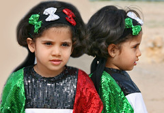 Twins (Still Alive ..) Tags: girls people reflection cute face kids nice twins flag profile celebration kuwait q8 custome moiq8