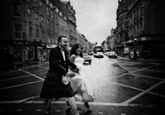 Stopping Traffic (Haggis Chick) Tags: wedding blackwhite couple do married you indeed aberdeen unionstreet totallynutsandsuchalovelycouple godidonthalframble