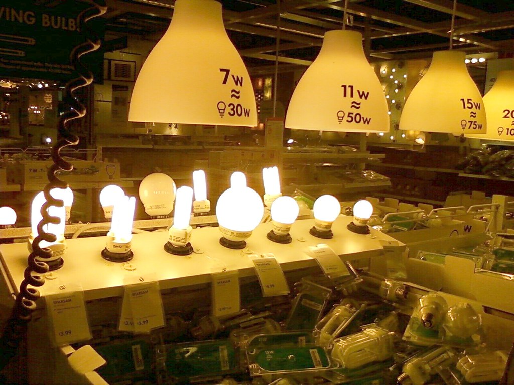 Ikea display: CFL light bulbs side-by-side