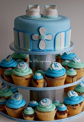Jackson Vincent Christening (TheLittleCupcakery) Tags: blue boy baby tower cake cross little monogram cupcake christening booties tlc cupcakery xirj klairescupcakes