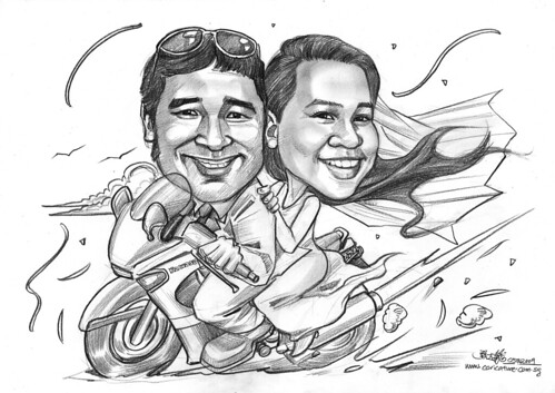 wedding couple caricatures on Kawasaki ZZR A4