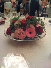 flower on a wedding table