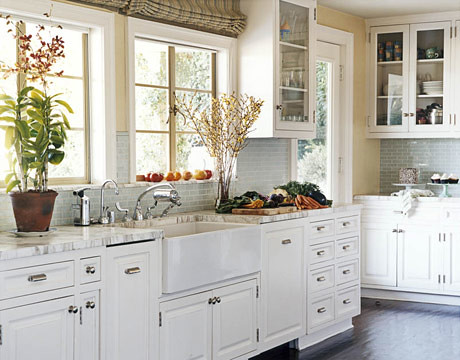 White kitchen White cabinets painted floor subway tiles