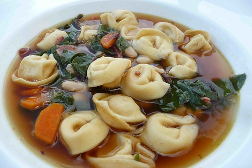Tortellini Soup with Pancetta and White Beans