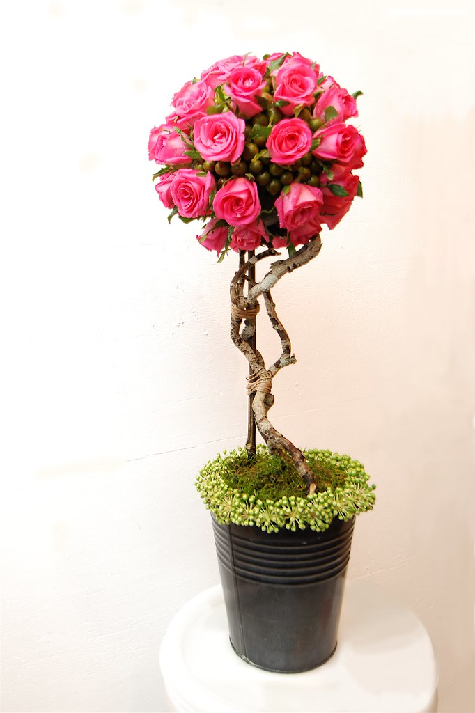 Pink Floral Topiary