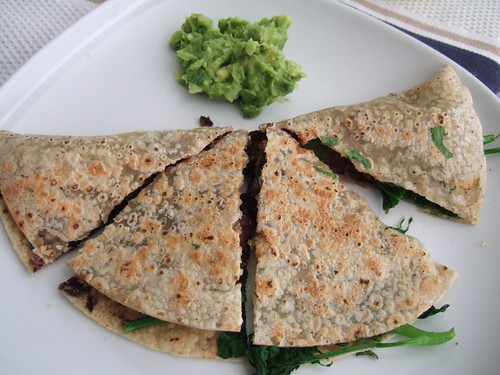 Black bean and spinach quesadilla on rice tortilla