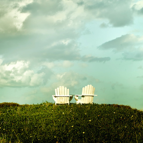 Cuba Gallery: Two chairs - Grass hill - Cool clouds & sky background