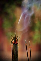 .Prayer. (.krish.Tipirneni.) Tags: light red orange india white green temple fire 50mm nikon worship colours dof god buddha smoke faith prayer pray divine ap pooja hyderabad hpc krish andhrapradesh poga kittu 18f dhoop secunderabad d80 whichlens omot rktobjects thedayaftermybday ధూపం భక్తి agarabathi anandhabuddhavihar