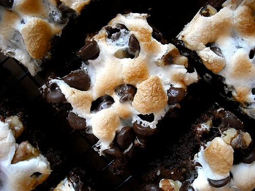 rocky road brownie up close on rack