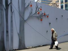 fence (wunderwesen) Tags: city tree art apple wall skyscraper gallery pattern loneliness drawing decoration korea seoul southkorea seoulawardwinner