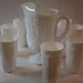 Milk Glass Pitcher w/ Tumblers