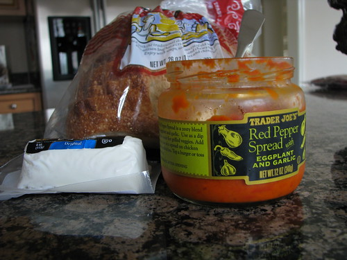 trader joe's, roasted red pepper, goat cheese, sandwich, motown maiden