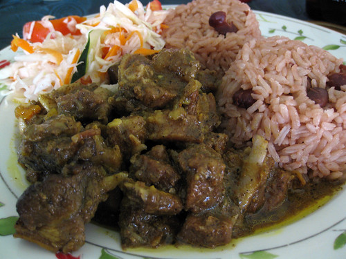 Curry Goat with Rice and Peas