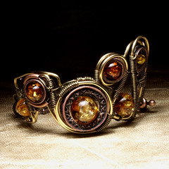 Steampunk Jewelry made by CatherinetteRings - Epic Bracelet with Amber (Catherinette Rings Steampunk) Tags: fiction canada fashion metal amber wire punk artist industrial mechanical quebec designer handmade montreal daniel victorian wrapped jewelry science bijoux retro steam jewellery fantasy bracelet copper scifi organic etsy brass artisan geekery steampunk neovictorian futurist antiqued proulx catherinetterings danielproulx