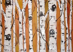 Birch Trees on Golden Brown (kristen dougherty) Tags: brown white tree painting landscape gold birch aspen
