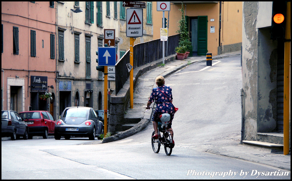 Vecchia Signora in Bicicletta - Old Lady on Bike (in Certaldo)