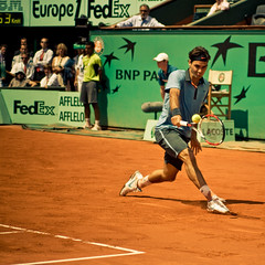 33.Roger Federer @ Roland Garros 2009 (Doudou) Tags: paris france men court square atp sunny tommy tennis roland terre players roger simple haas philippe federer garros professionnelle battue messieurs internationaux chatrier