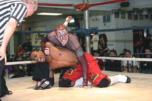 Kahyman and A.J. Williams battled for months in order to win what each claimed was rightfully his--The MMWA-SICW Junior Heavyweight Championship. Photo by Mike VanHoogstraat
