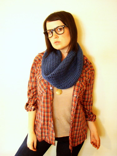 softspoken crochet solid cowl in denim blue