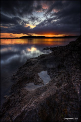 Rocky Sunset I (CU-Photography) Tags: park sunset water pool rock clouds scotland greenock stormy craig thom loch regional gloaming inverclyde ushermuirshiel