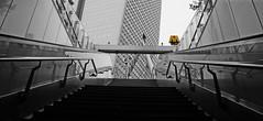 EXIT (vannellestijnr) Tags: holland station sign stairs photoshop canon subway rotterdam europe metro transport nederland kpn feyenoord metrostation wilhelminaplein trappen rotterdamzuid wilhelminapier blackwhitecolour torenopzuid zwartwitkleur richardvannellestijn