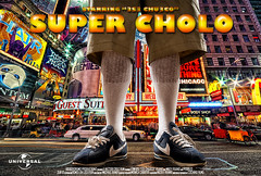 """Super Cholo"" Da Movie (BigBoyDrums (www.hectorcruzphoto.com)) Tags: nyc movie poster gangster nikon bees alien broadway sigma super nike advertisement editorial cortez dickies mock d300 cholo strobes ab1600 1850mm28 cybersyncs bigboydrums"