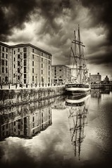 Albert Dock Reflections,Liverpool (Hazeldon73- catching up !) Tags: sky white black water liverpool docks buildings reflections mono ship moody toned hdr albertdock wow1 mygearandme mygearandmepremium