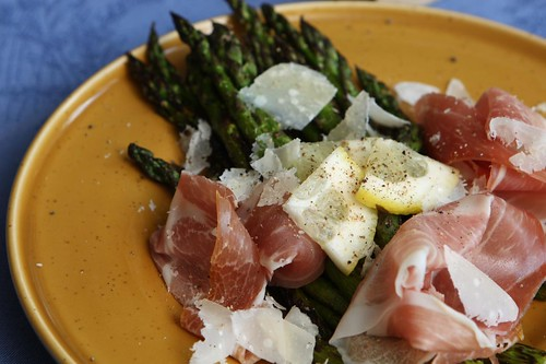 Grilled Asparagus with La Quercia Speck, Shaved Parmigiano-Reggiano, and Lemon