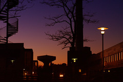 Going home from work (Kirsten M Lentoft) Tags: sunset building night hospital denmark watertower silhouettes glostrup lght colorphotoaward kirstenmlentoft