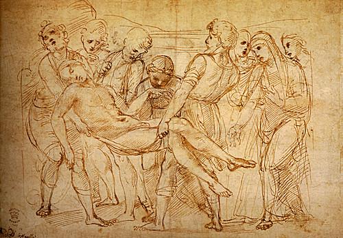 1507  Raphael    Studies for the EntomBibliothèque municipaleent, The EntomBibliothèque municipaleent  Pen and brown Ink  23x31,9 cm  otam