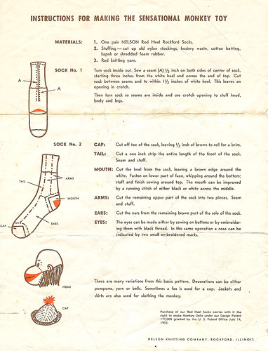 Vintage Sock Monkey Instructions Page 2 A Photo On Flickriver
