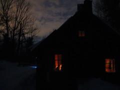 Huron Hut at night
